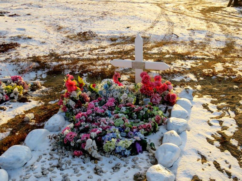 Sepultura do Inuit que mostra flores plásticas de todas as cores foto de stock royalty free