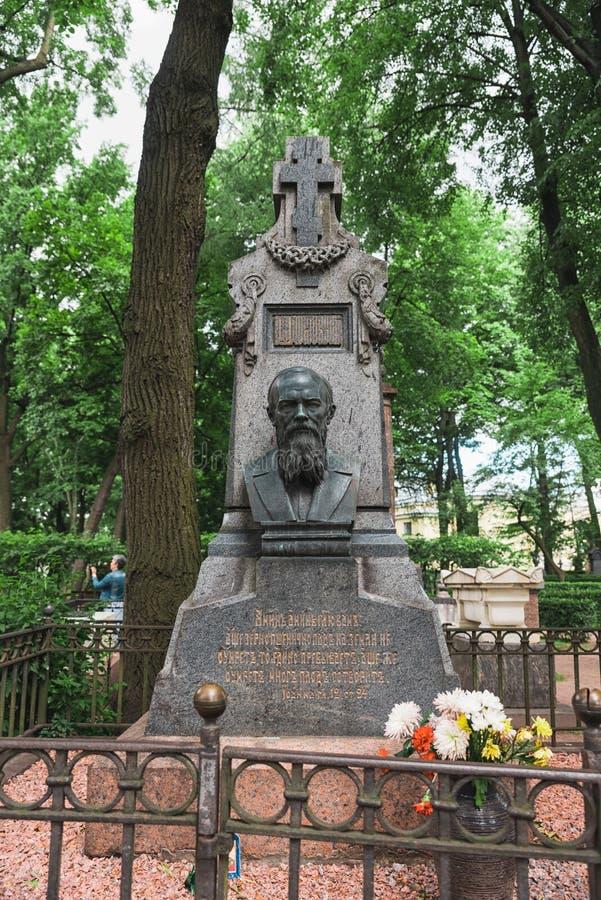 Sepultura do ` s de Dostoyevsky no cemitério de Tikhvin imagem de stock royalty free