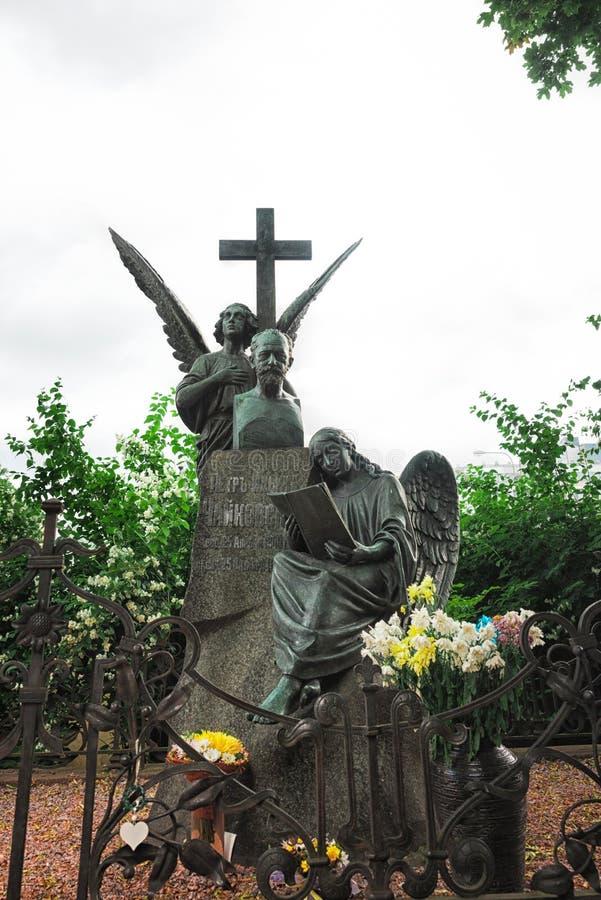 Sepultura do ` s de Tchaikovsky no cemitério de Tikhvin fotografia de stock