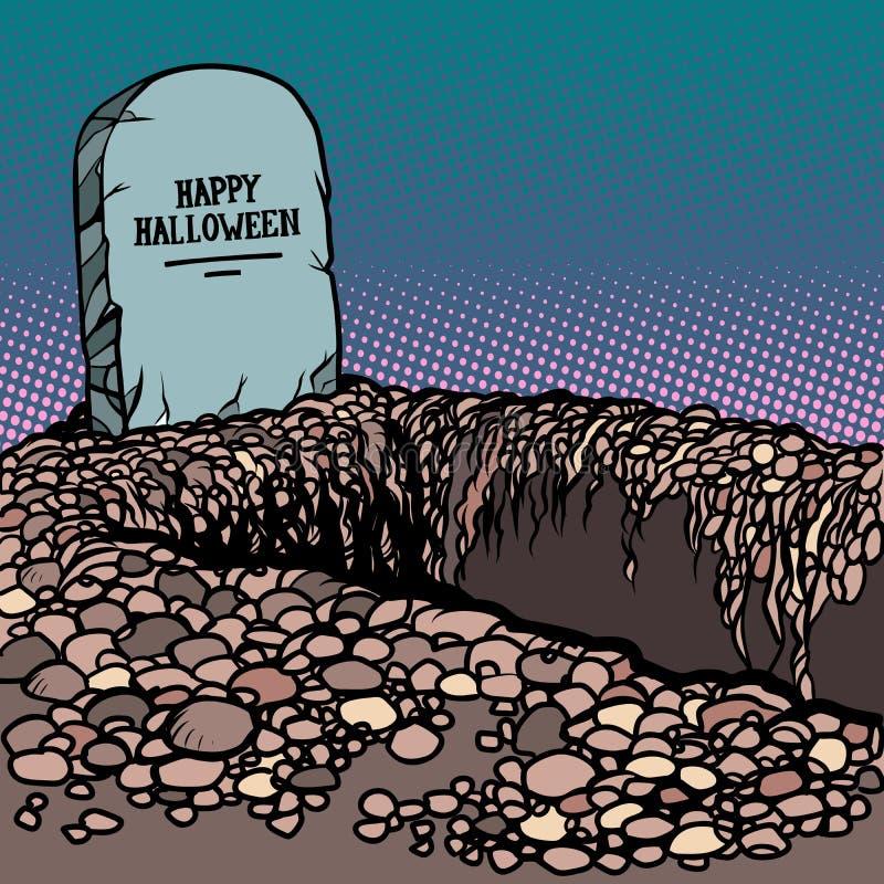 Sepultura feliz de Dia das Bruxas ilustração stock