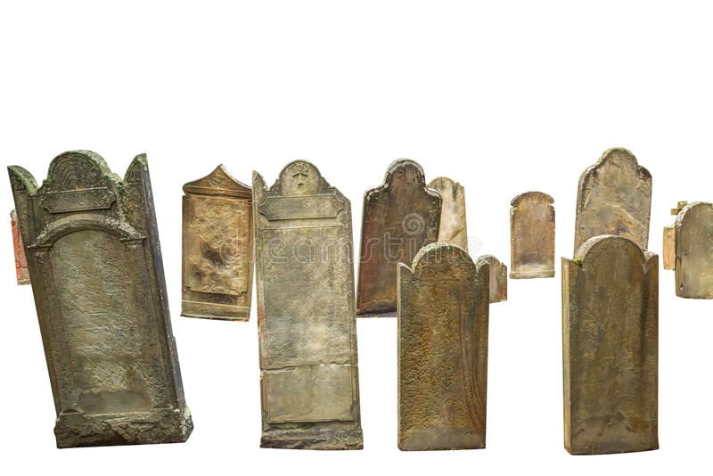 Sepulturas do cemitério isoladas fotografia de stock