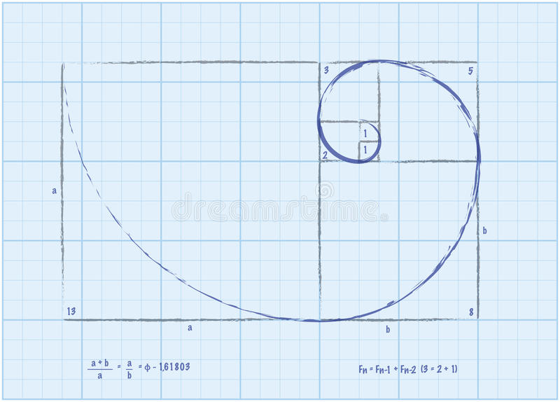 Seqüência de Fibonacci - esboço espiral dourado ilustração stock