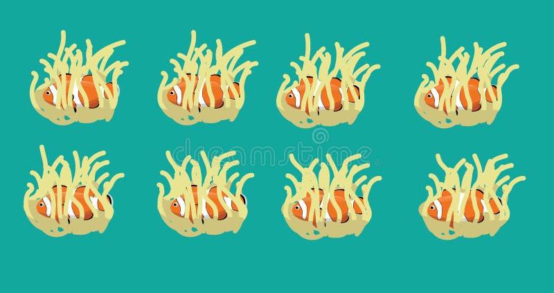 Sequência animal Clownfish da animação em Anemone Cartoon Vetora ilustração stock