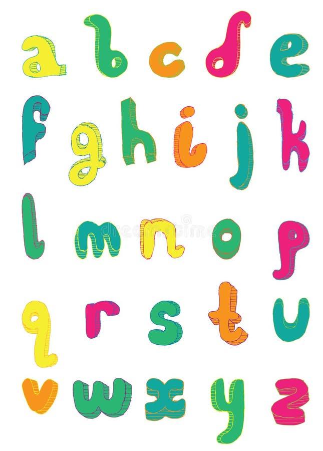 Sequência brilhante das letras de à Z Estilo esboçado tirado inglês da fonte à disposição ilustração stock