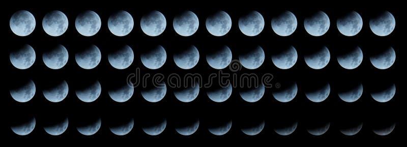 Sequência da lua: eclipse lunar total de progresso imagem de stock royalty free