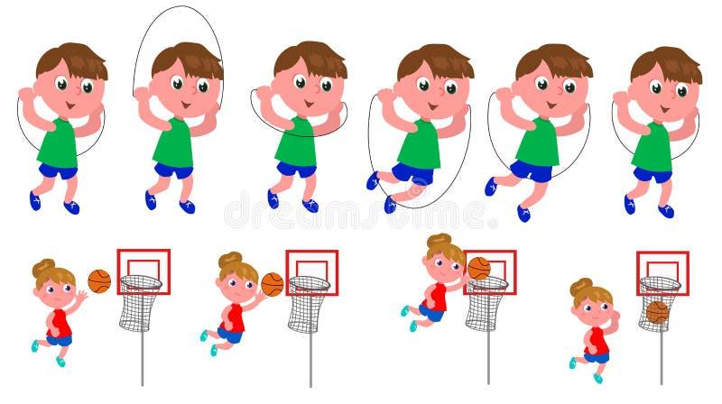 Sequência do movimento das crianças ilustração stock