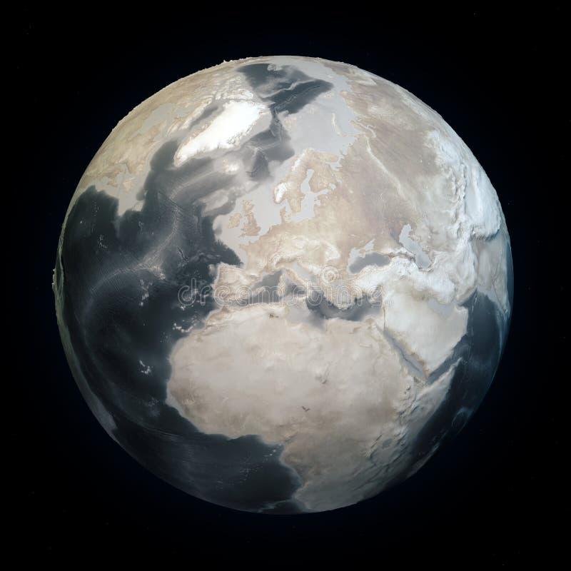 Sequía en el mundo, tierra seca del planeta Tierra del cambio de clima sin el agua Batimetría del fondo del mar con alivios Calen libre illustration