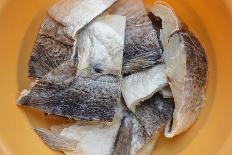 Bacalhau salgado que hidrata na água fotos de stock