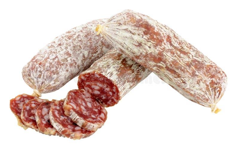 Seque salsichas italianas curadas do salame fotografia de stock royalty free