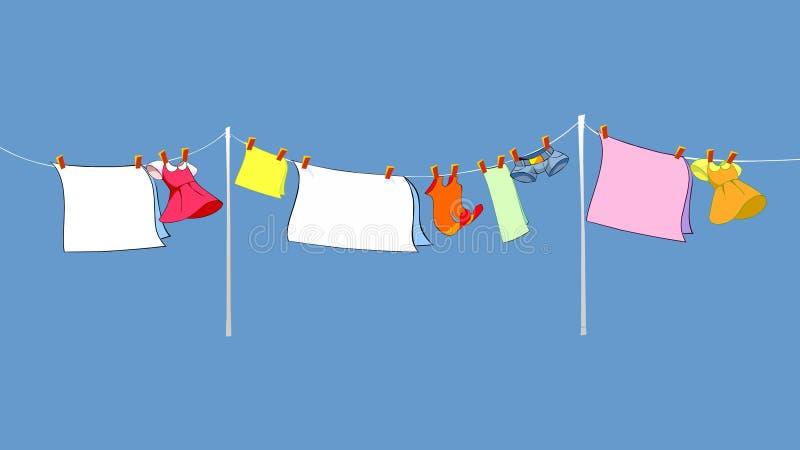 Sequedad del lavadero en la cuerda afuera stock de ilustración