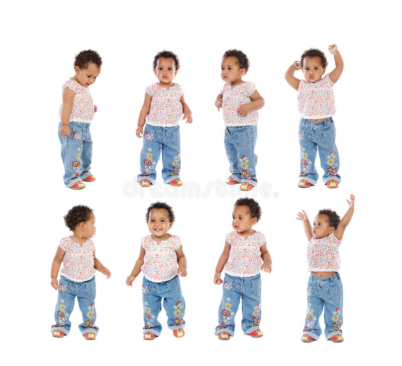 Sequence of a african baby standing stock photos
