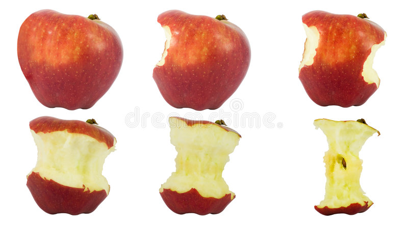 Download Sequence Of An Apple Being Eaten Royalty Free Stock Photography - Image: 5592987