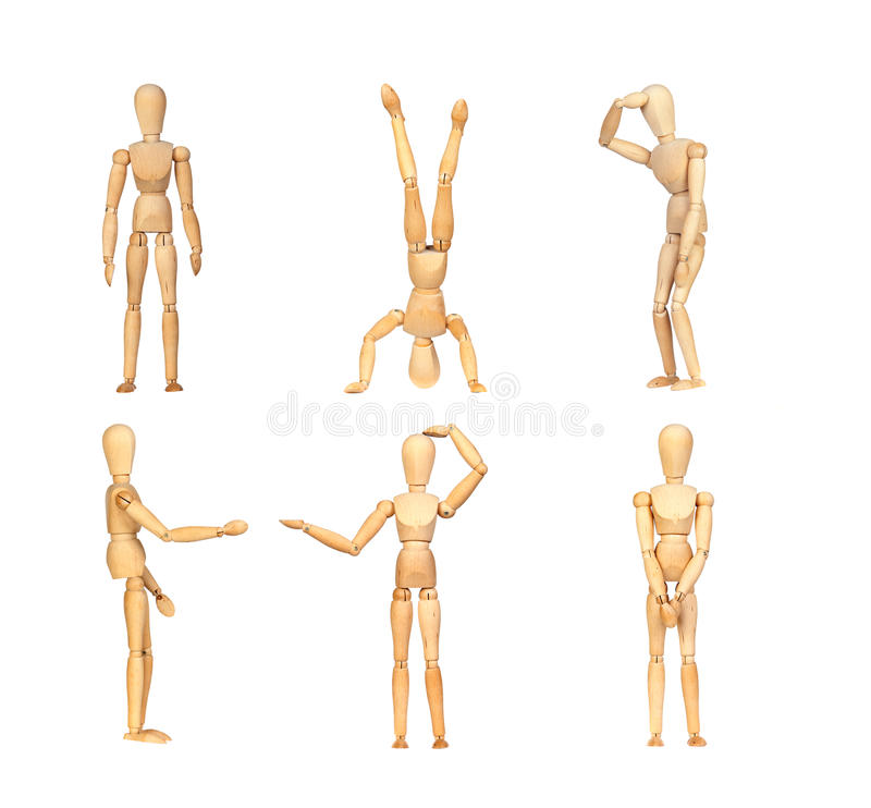 Sequence gestures articulated wooden mannequin royalty free illustration