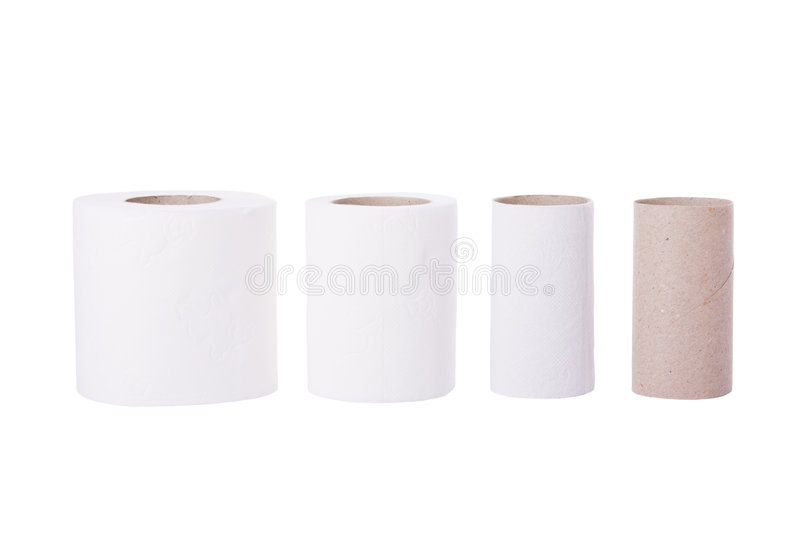 Sequence Of Toilet Paper Rolls Stock Photography