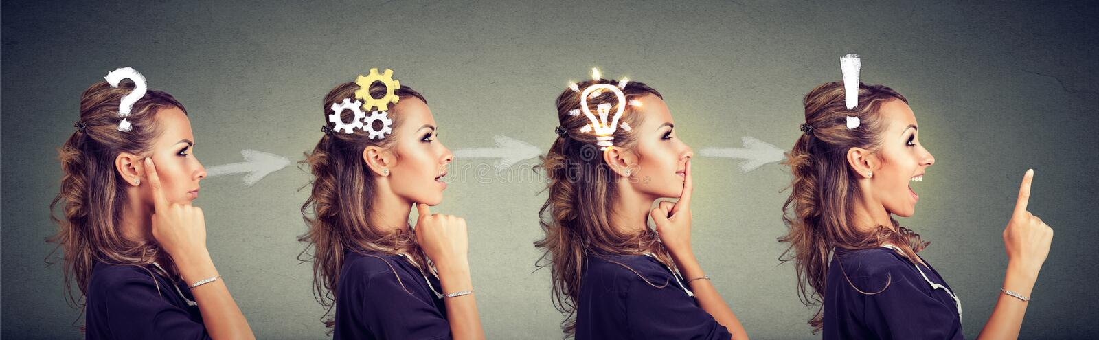 Sequence of a woman thoughtful, thinking, finding solution with gear mechanism, question, exclamation, lightbulb symbols. royalty free stock images