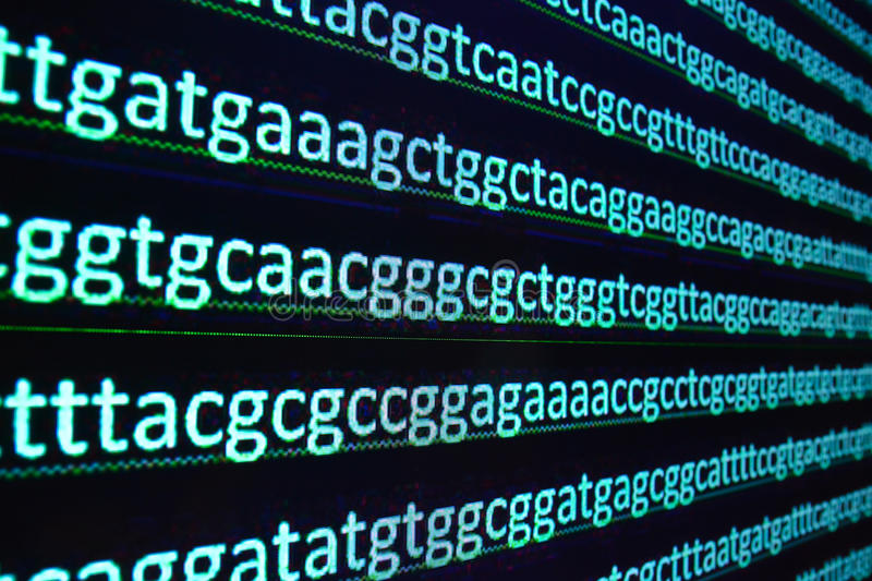 Sequencing of the genome in the laboratory. Sequence of genes in symbols of nucleotide bases stock photography