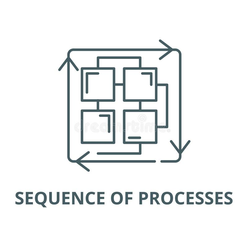 Sequenza della linea icona, concetto lineare, segno del profilo, simbolo di vettore di processi illustrazione di stock