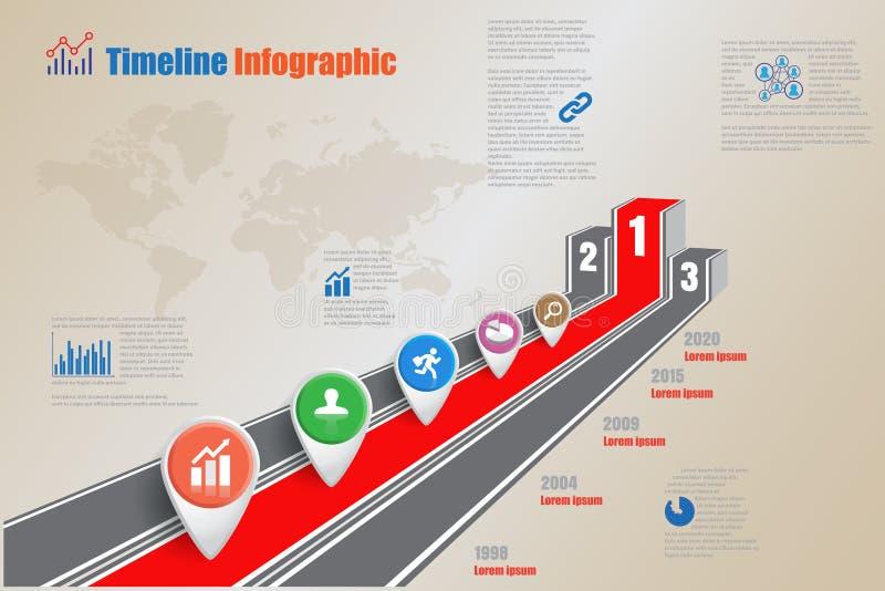 Sequenza temporale di business 3d illuminata podio infografica e strada per la ricompensa illustrazione vettoriale