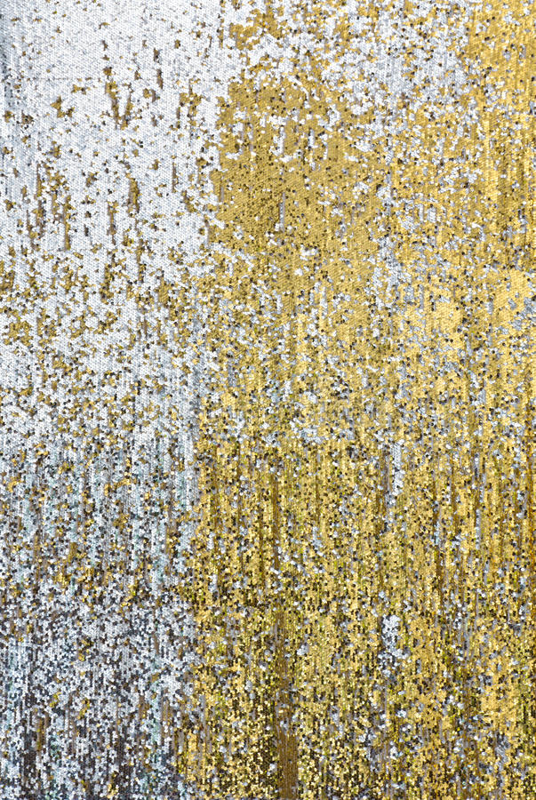 Sequin. Texture of silver and golden sequin backdrop stock photo