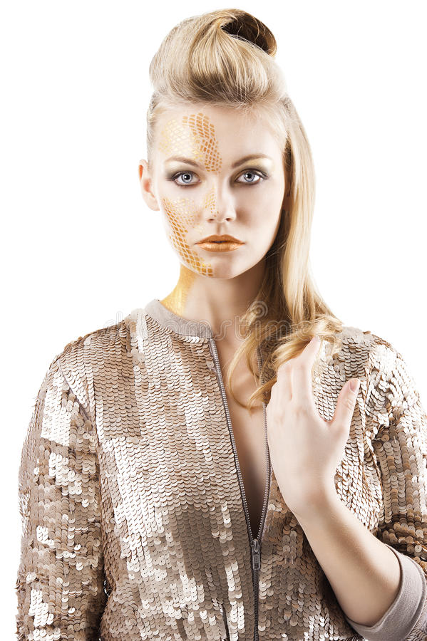 Download The Sequin Glittering Creative Make Up Girl, Stock Image - Image: 23128901