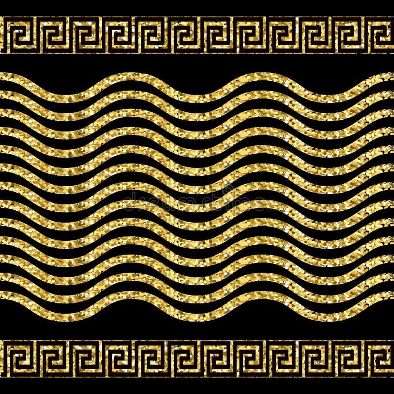 Sequinned glittery gold greek border seamless pattern. Shiny wave lines vector background. Repeat glitters greek key meanders. Ornament. Modern luxury border stock illustration