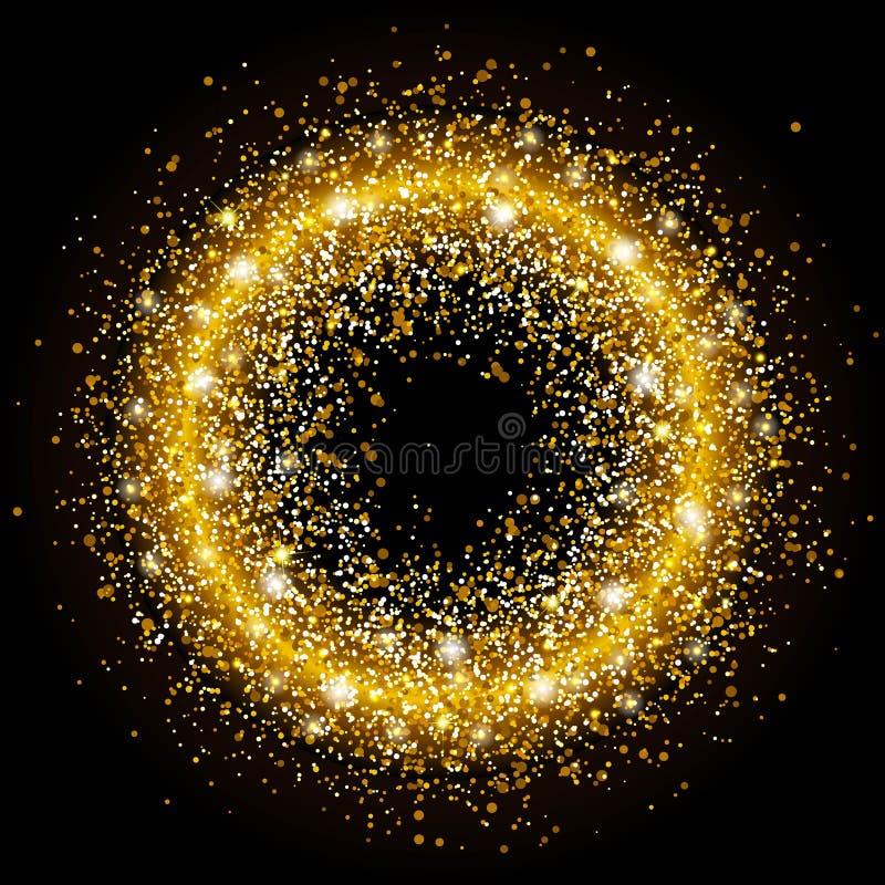 Sequins золотого круга яркие Круг искры Шаблон для дизайна рождества, приглашений, подарка, дизайна VIP, рогульки иллюстрация штока