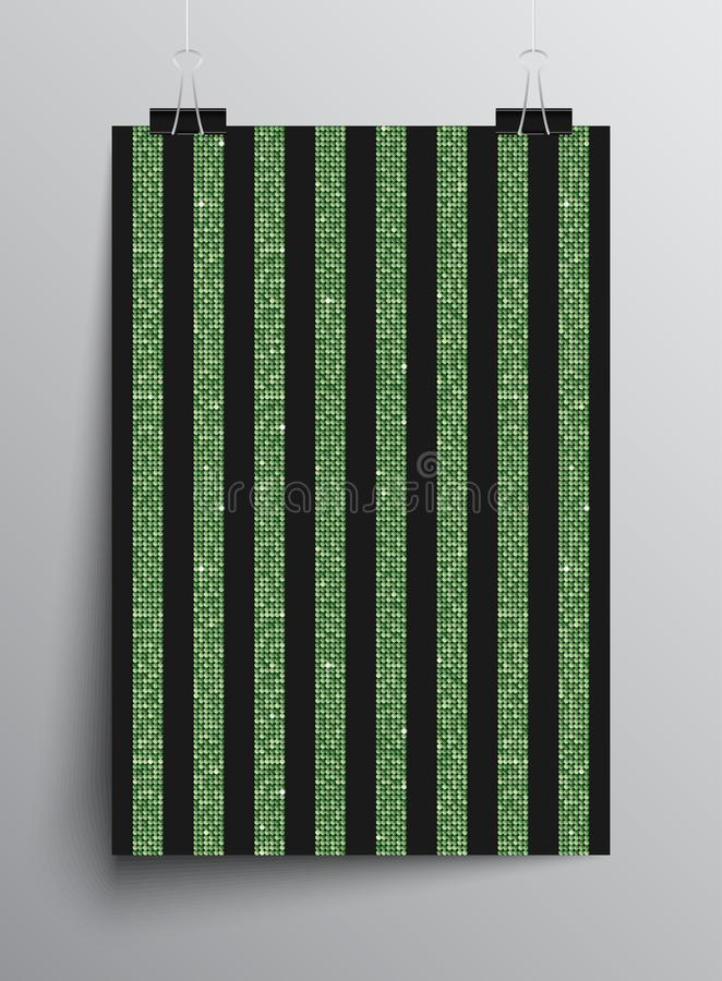 Sequins party green poster parallel vertical lines. Sequins green poster template parallel vertical lines. Vector creative background with shiny sparkles royalty free illustration