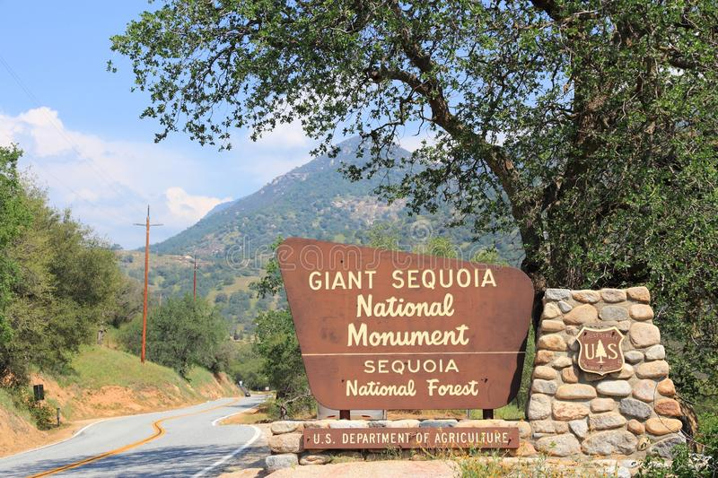 Sequoia National Forest. SPRINGVILLE, UNITED STATES - APRIL 12, 2014: Entrance sign to Giant Sequoia National Monument in California. National Monument was stock photo
