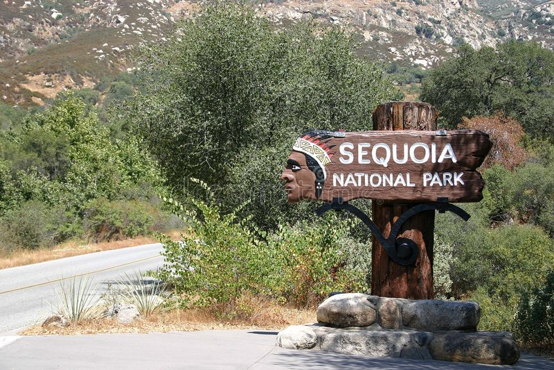 Sequoia National Park - Entrance stock photo