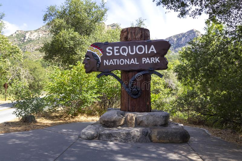 Sequoia National Park sign royalty free stock photos