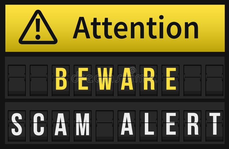 Ser cuidadoso a mensagem alerta de Scam foto de stock royalty free