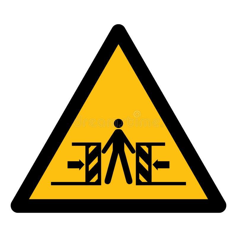 Ser cuidadoso o esmagamento do isolado do sinal do símbolo no fundo branco, ilustração EPS do vetor 10 ilustração stock