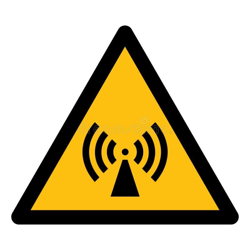 Ser cuidadoso o isolado deionização do sinal do símbolo da radiação no fundo branco, ilustração EPS do vetor 10 ilustração do vetor