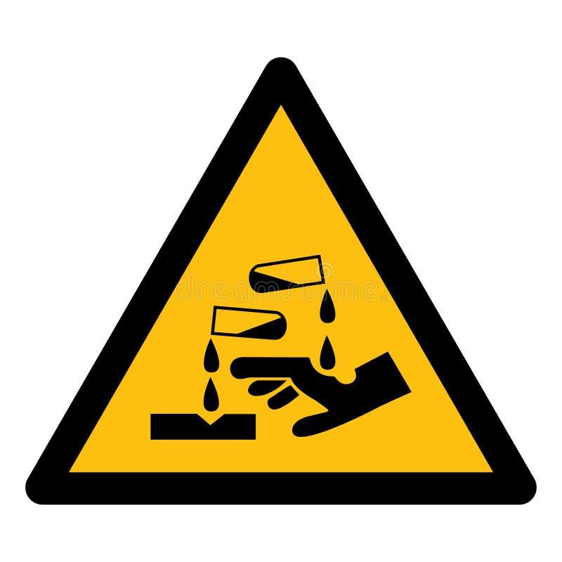 Ser cuidadoso o isolado do símbolo da substância corrosiva no fundo branco, ilustração EPS do vetor 10 ilustração do vetor