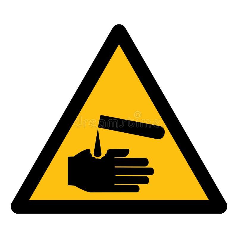 Ser cuidadoso o isolado do símbolo dos corrosivos no fundo branco, ilustração EPS do vetor 10 ilustração stock