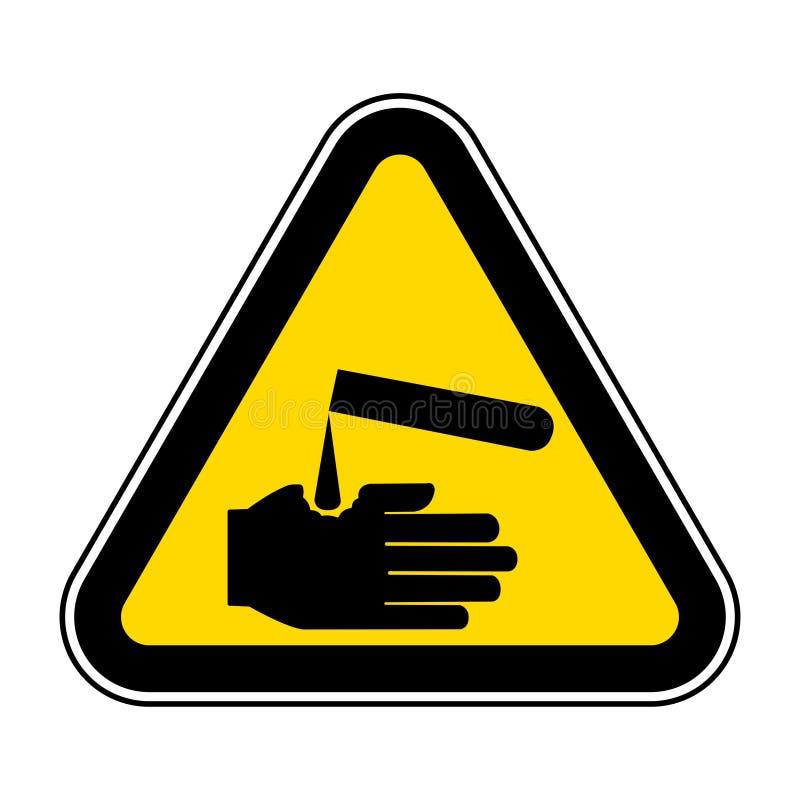 Ser cuidadoso o isolado do símbolo dos corrosivos no fundo branco, ilustração EPS do vetor 10 ilustração royalty free