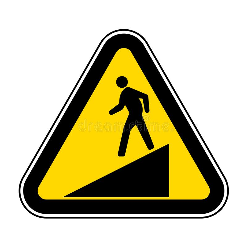 Ser cuidadoso o isolado do sinal do símbolo da inclinação no fundo branco, ilustração EPS do vetor 10 ilustração stock