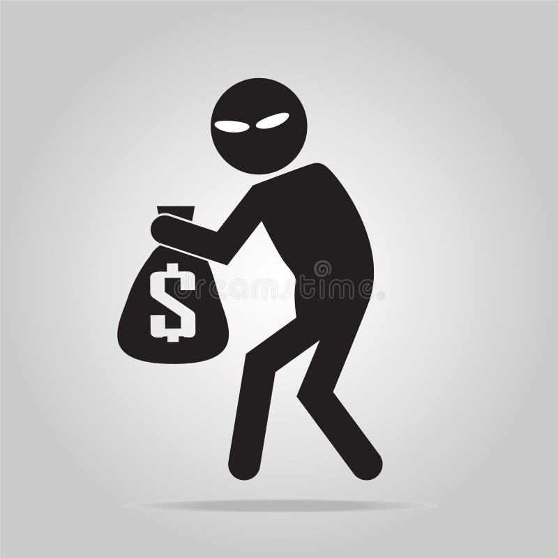 Ser cuidadoso o sinal do carteirista, ilustração do ícone do ladrão ilustração do vetor