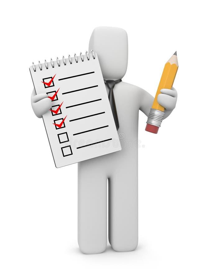 ser humano 3d con la lista de comprobación y el lápiz libre illustration