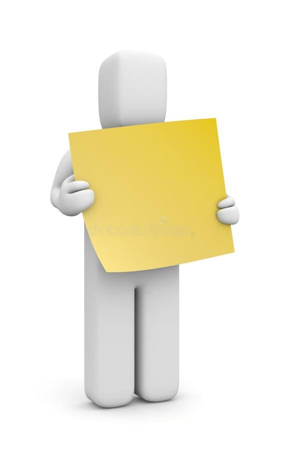 ser humano 3d con la nota pegajosa libre illustration