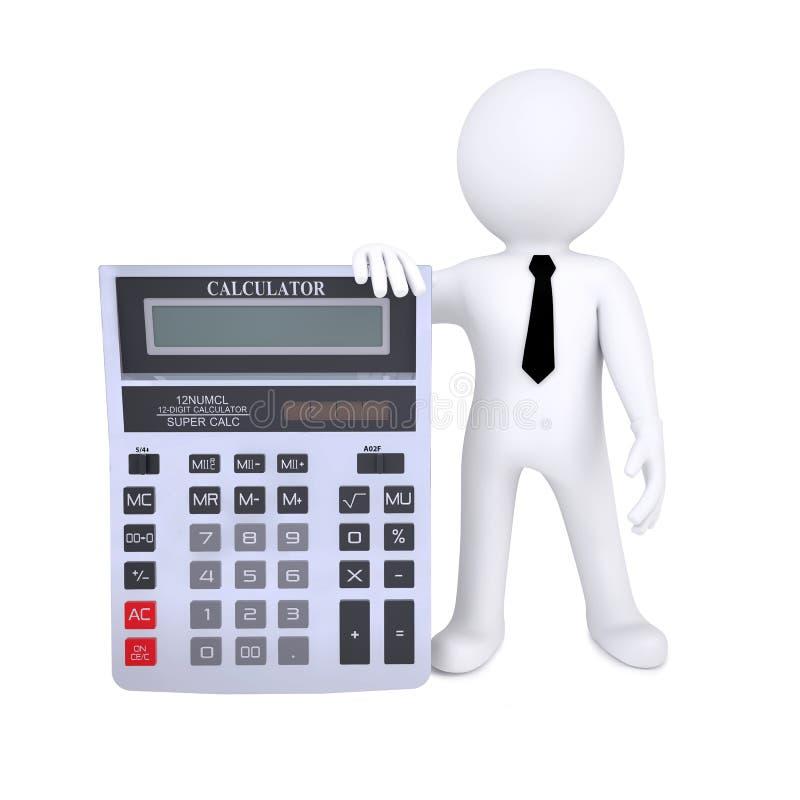 ser humano 3d con una calculadora stock de ilustración