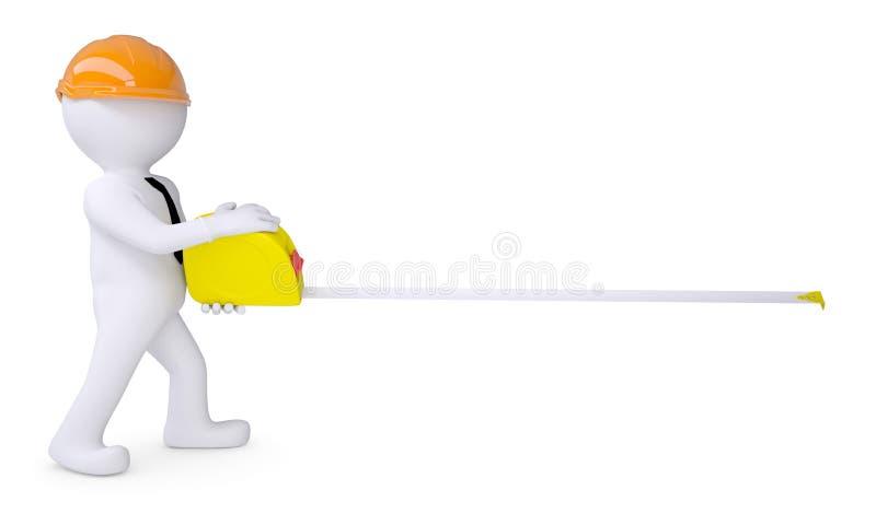 Ser humano blanco en un casco que lleva a cabo una cinta métrica ilustración del vector