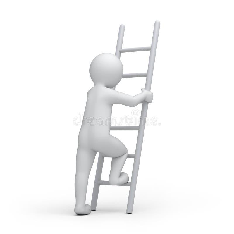 Ser humano con una escalera ilustración del vector