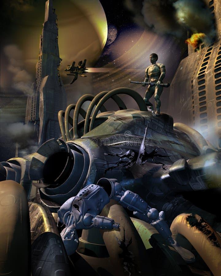 Ser humano contra a guerra do androide ilustração royalty free