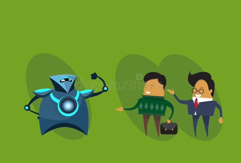Ser humano contra hombres robóticos de los robots y de negocios modernos sobre fondo verde ilustración del vector