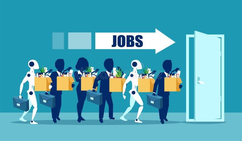 Ser humano contra o conceito dos robôs Candidatos de trabalho do negócio que competem com a inteligência artificial ilustração royalty free
