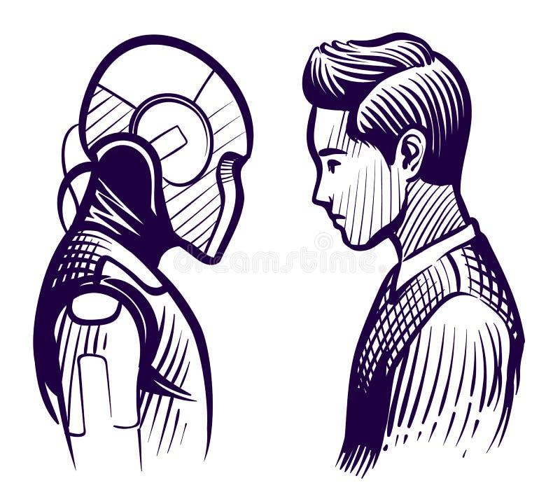 Ser humano contra o robô Conflito da inteligência artificial e da mente humana Conceito do vetor do esboço da substituição do emp ilustração stock