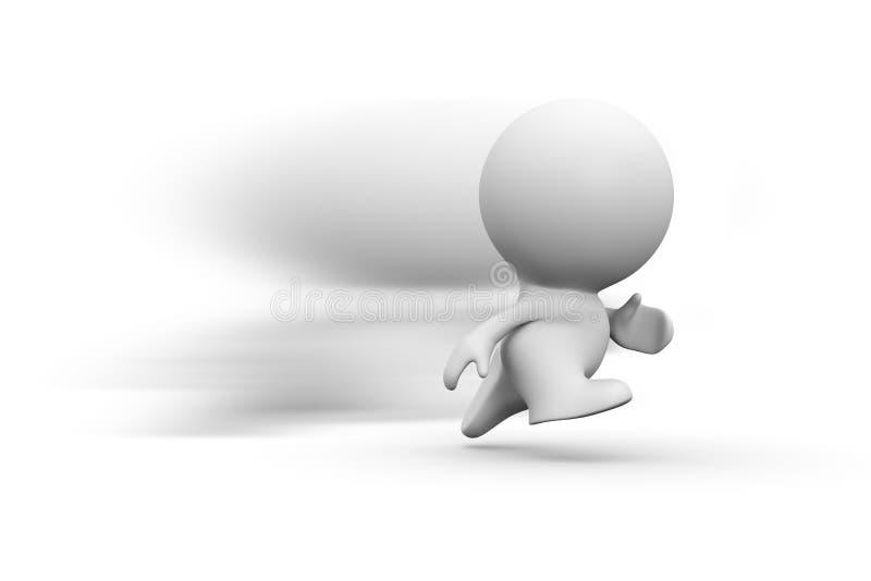 Ser humano corriente del blanco 3d con la falta de definición de movimiento stock de ilustración
