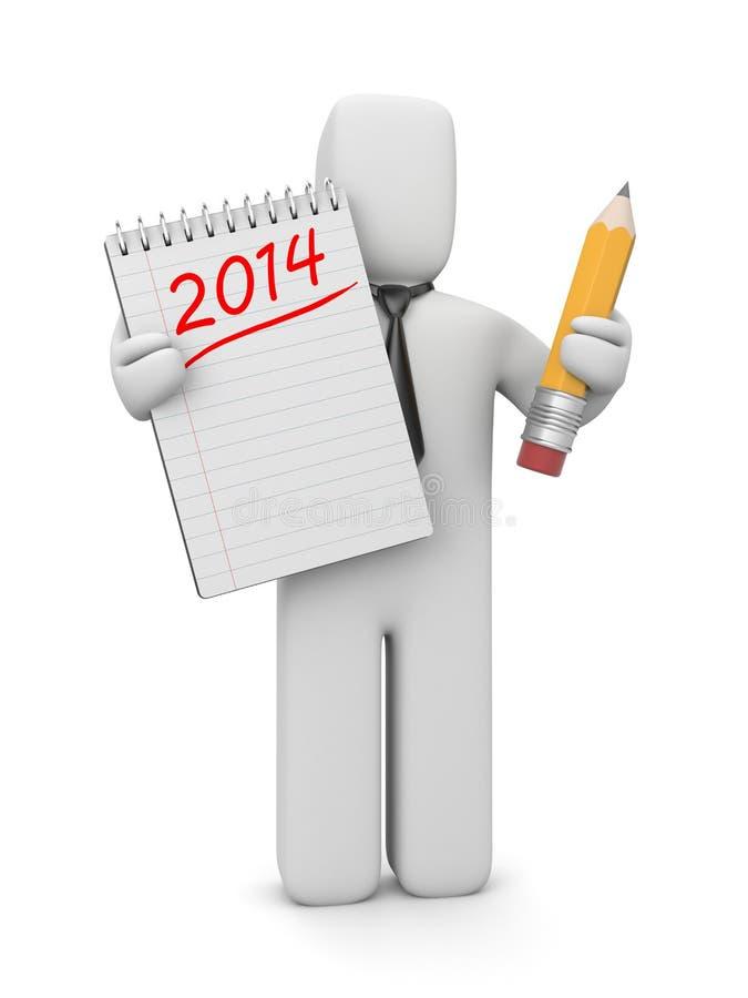 ser humano 3d con la lista de lío por el Año Nuevo libre illustration