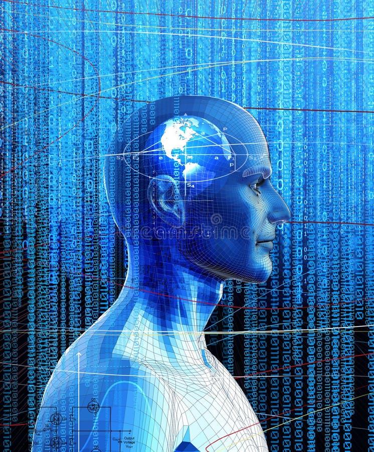 Ser humano de Digitaces de la máquina de la inteligencia artificial foto de archivo